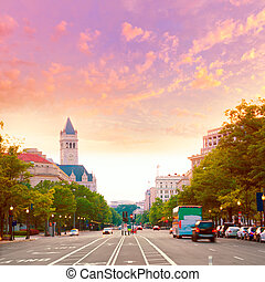 pennsylvania avenue, sonnenuntergang, in, washington dc