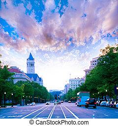 Pennsylvania Avenue sunset in Washington DC