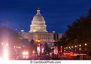Pennsylvania Avenue United States Capitol at night