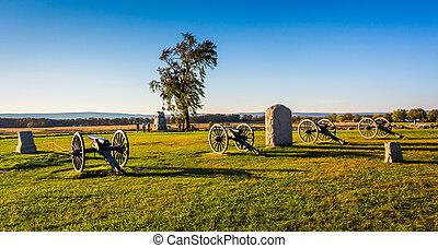 pennsylvania., cañones, gettysburg, monumentos