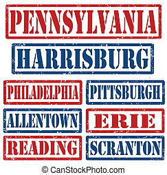 Set of Pennsylvania cities stamps on white background, vector illustration
