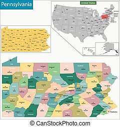Pennsylvania map - Map of Pennsylvania state designed in...