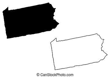 Pennsylvania map vector illustration, scribble sketch Pennsylvania map