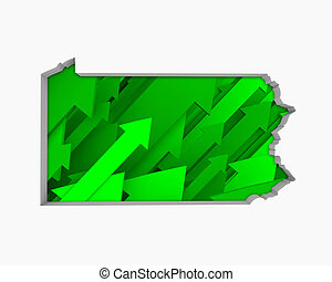 Pennsylvania PA Arrows Map Growth Increase On Rise 3d Illustration
