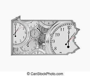 Pennsylvania PA Clock Time Passing Forward Future 3d Illustration