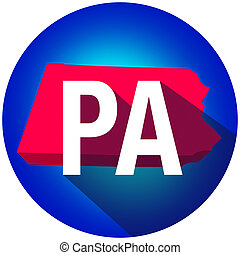 Pennsylvania PA Letters Abbreviation Red 3d State Map Long Shadow Circle