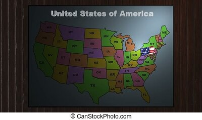 Pennsylvania pull out from USA states abbreviations map -...