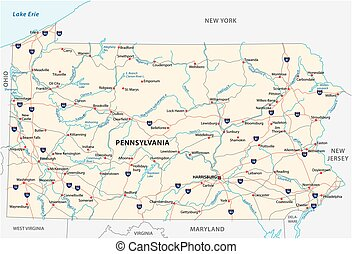 pennsylvania road vector map