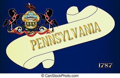 Pennsylvania Scroll - A scroll with the text Pennsylvania...