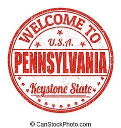 pennsylvania, stämpel, välkommen