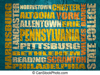 Image relative to USA travel. Pennsylvania cities and places names cloud. Concrete textured