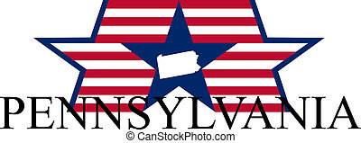 Pennsylvania state map, flag, and name.