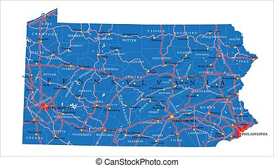Pennsylvania state political map