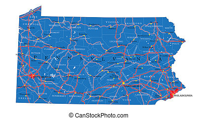 Detailed map of Pennsylvania state with county borders, roads and major cities.