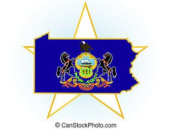 Pennsylvania - The illustration on white background. Coat of...