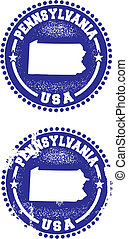 Pennsylvania USA Stamps - A couple of distressed stamps...