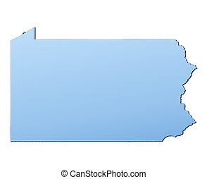 Pennsylvania(USA) map filled with light blue gradient. High...