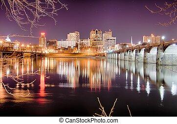 pennsylvanie, harrisburg, horizon, nuit