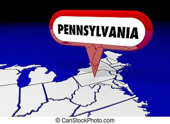 pennsylvanie, papa, carte état, épingle, emplacement, destination, 3d, illustration