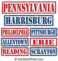 pennsylvanie, timbres, villes