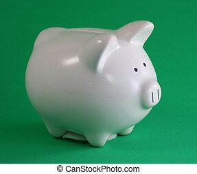 a piggy bank with a green background