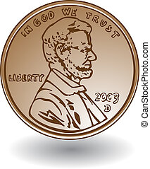 Penny drawing isolated on a white background.