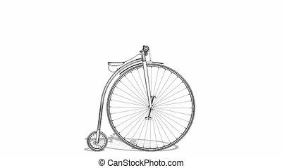 penny-farthing, 자전거, 생기