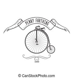 Penny-farthing bicycle vintage emblem, retro bike with large front wheel of 1890s, vector