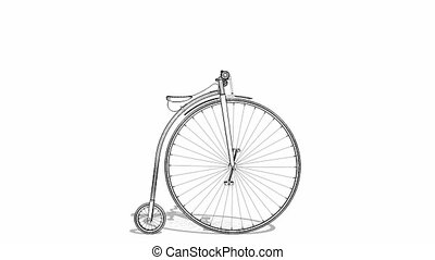 penny-farthing, fiets, animatie