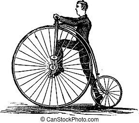 penny-farthing, of, hoog wiel, fiets, ouderwetse , gravure