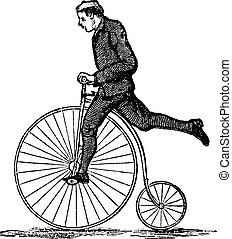 Penny-farthing or High Wheel Bicycle, showing how to dismount the bicycle by stepping on the pedal and then raising the other leg over the rear, vintage engraved illustration. Trousset encyclopedia (1886 - 1891).