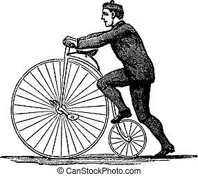penny-farthing, ou, haute roue, vélo, vendange, gravure