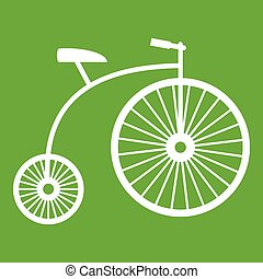 penny-farthing, verde, icono
