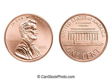 penny macro isolated - penny macro both sides, one American...