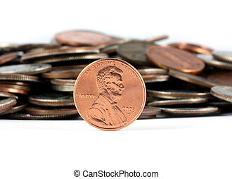 penny, megtakarított, van, egycentes pénzt keres