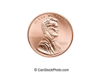 penny, närbild, isolerat
