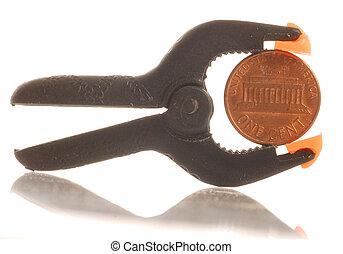 penny, squeezed, ind, en, klampe, -, knibe penny