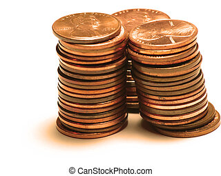 Tower of copper colored pennies