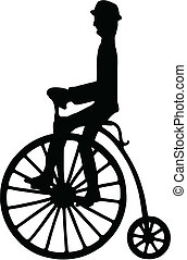 Vector silhouette of a rider on an old-fashioned bicycle