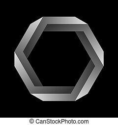 Penrose hexagon on black background. Impossible object or impossible figure or an undecidable figure.