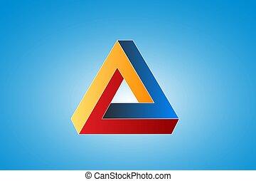 Penrose impossible triangle isolated on a blue background.