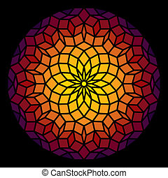Leadlight in form of a Penrose pattern - a specific geometric figure in mathematics. Vector illustration.