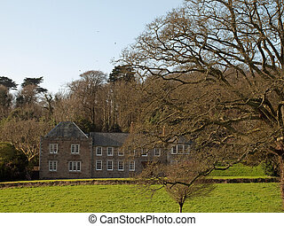 The house and grounds of Penrose Estate in Cornwall, near Porthleven and Helston