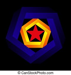 Penrose pentagon on dark background. Impossible object or impossible figure or an undecidable figure. Color abstraction with pentagram.
