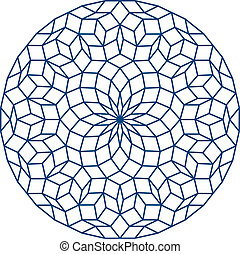 Penrose Pattern, a non-periodic tiling generated by an aperiodic set of prototiles. Vector illustration on white background.
