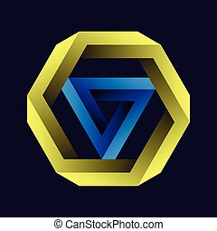 Penrose triangle and hexagon or Penrose tribar, or the impossible tribar with gradient on black background. Impossible objects or impossible figures
