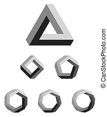 Penrose triangle and polygons outline. The Penrose tribar, an impossible object, appears to be a solid object, made of three straight bars. Further square, pentagon, hexagon, heptagon and octagon.