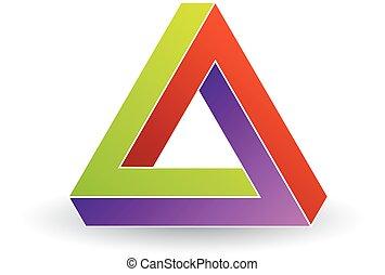 Penrose triangle- Tricolor 3d Business logo