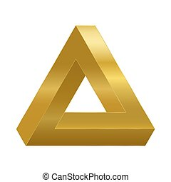 Penrose triangle, optical illusion, golden impossible object. Penrose tribar appears to be a solid object, made of three straight bars. Isolated vector on white background.