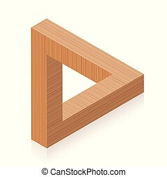 Penrose triangle. Impossible wooden object, appears to be a solid object, made of three straight bars. Isolated vector on white background.